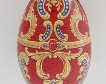 Vintage Tin Metal Easter Egg, Collectible Candy container, Fabergé design egg