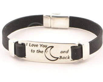 I Love You To The Moon And Back, mens jewelry, boyfriend gift, men engraved leather bracelet, inspirational quote bracelet, custom jewelry