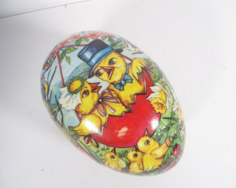 Vintage German Cardboard Easter Egg Candy Container - GDR Cardboard Easter Egg
