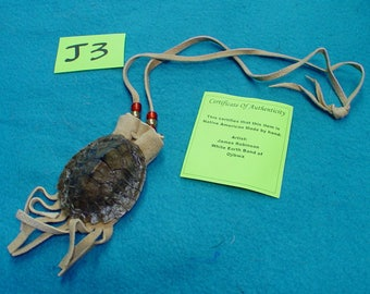 Turtle Shell Medicine Bag Necklace, MAP Turtle, #J3