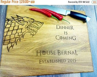 Midsummer Sale GAME of Thrones cutting board. Direwolf. Stark. Dinner is comming. Handmade Laser Engraved Cutting Board. Housewarming gift.