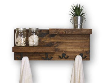 Two Tier Floating Bathroom Shelf 4 Hooks