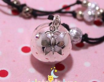 Bola pregnancy harmonyball genuine 925 sterling silver Butterfly charm and swarovski rhinestones