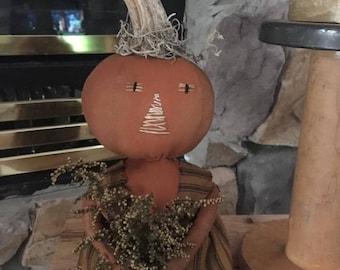 Primitive Fall pumpkin Halloween shelf sitter