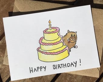 funny birthday card - birthday  cake - happy birthday - enjoy - celebrate - girlfriend - card for him -greeting card - best friends