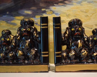 Pair of Brown & Gold Poodle Bookends