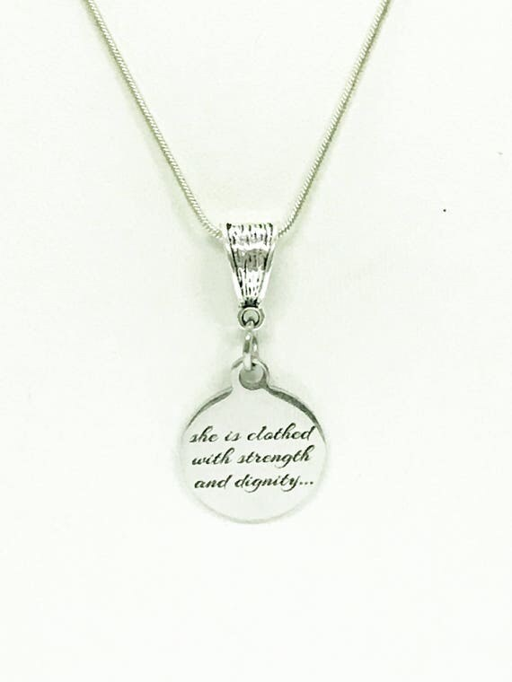 She Is Clothed With Strength And Dignity Pendant Necklace, Proverbs 31:25 Scripture Necklace, Bible Verse Jewelry Gift For Daughter