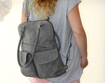 Taupe Leather Backpack, Women Handbag, Laptop Bag, Transformer, Leather Backpack, Messenger Bag, Back to School,Shopper bag, Tote Bag