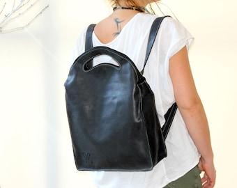 Black Leather Backpack,  Leather Tote Bag, Women's Backpack, Leather Tote Bag, Convertible Bag, Shoulder Bag, Cross body Bag, Laptop Bag