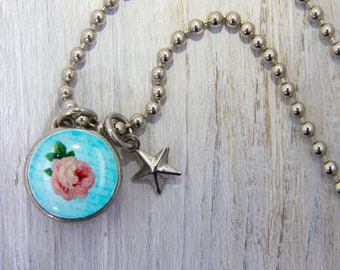 Vintage Rose Charm, Kids Jewelry, Girls necklaces, Girls Pendants, Girls Bracelets,Charm Bracelets, interchangeable jewelry, photo jewelry