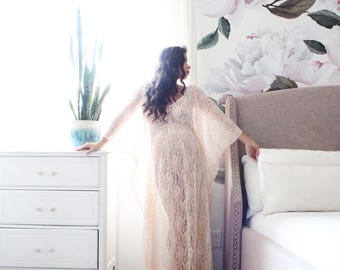 Maternity gown elegant bohemian sheer lace maternity kaftan baby shower maternity dress