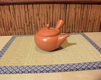 Japanese Red Clay Pottery Kyusu Teapot With Built In Mesh