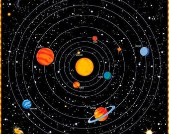 Glow in the dark fabric etsy for Solar system fabric panel