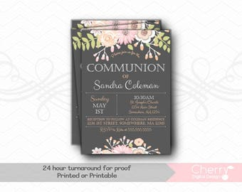 Beautiful Floral Pink & Gray Girl Communion Invitation. Great for any Baptism, Christening, Dedication or First Communion.  Girl Baptism PDF