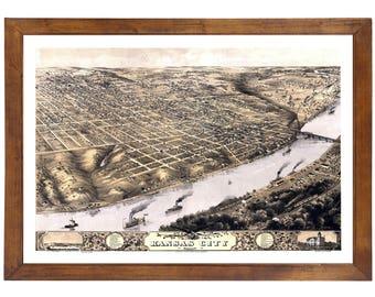 Kansas City, MO 1869 Bird's Eye View; 24x36 Print from a Vintage Lithograph