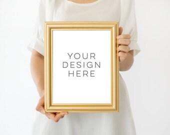 gold frame mockup 8x10 frame mockup girl holding poster mockup girl holding frame