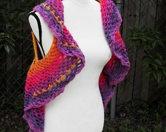 Crochet puple gold orange vest