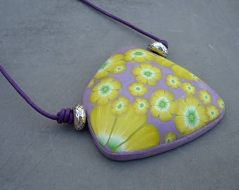 Yellow flowers and lilac background pendant- Handmade necklace yellow and lilac- Unique pendant yellow flowers in polymer clay- Clay pendant
