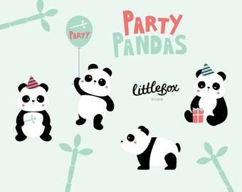 Party Pandas - Clip Art - Instant Download