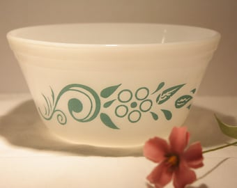 Vintage Federal Glass Company milk glass bowl with teal flower design