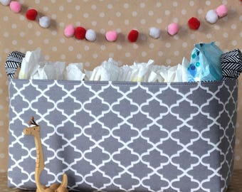 Diaper Storage Caddy. Classic Nursery Decor. Fabric Diaper Bin. Large Storage Basket. Nursery Storage Bin. Gift for Baby. Neutral Nursery.
