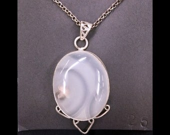 CLEARANCE Milky Stripe Onyx + Sterling Silver .925 necklace pendant