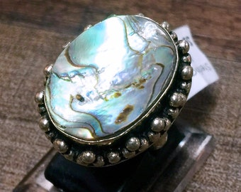 Abalone shell + Sterling Silver 925 Statement Ring Size 6.5