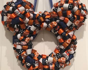 NFL Football Teams Mickey Shaped Ribbon Wreath, Denver Broncos, All Teams Available, Made To Order