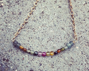 Tourmaline necklace with gold filled chain