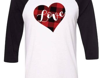 Love Shirt,Buffalo Plaid Heart,Plaid Love Raglan Tshirt,Buffalo Plaid Valentines Day Shirt,Valentines Day Raglan,Valentines Day Gift For Her