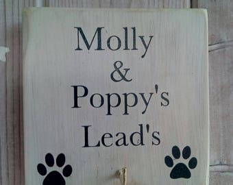 Personalised dog lead hook hanging plaque