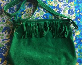 Vintage 70s Boho Purse / 1970s Green Purse / Green Suede Purse / Vintage Green Purse