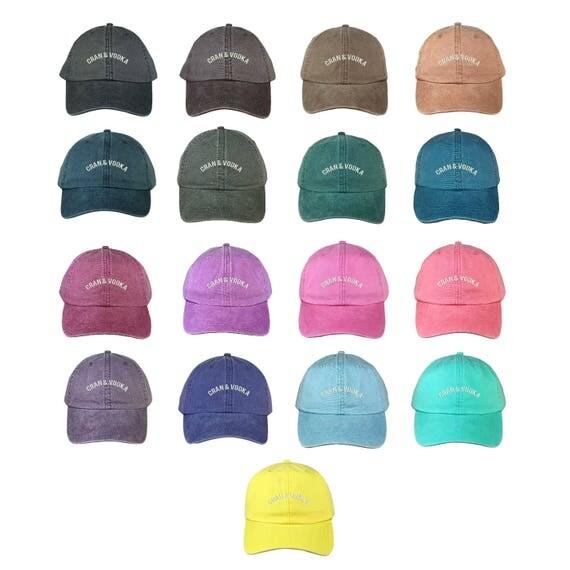 "CRAN AND VODKA Washed Dad Hat, Embroidered ""Cran & Vodka"" Booze Beer Hat, Low Profile Vodka Alcoholic Baseball Cap Hats, Multiple Colors"
