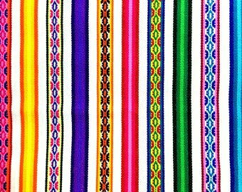 PERU FABRIC White Stripe by Yard ,mexican fabric, serape blanket, Fabric Home ,Jacquard fabric, Tissus peruvien ,guatemalan fabric , aguayo