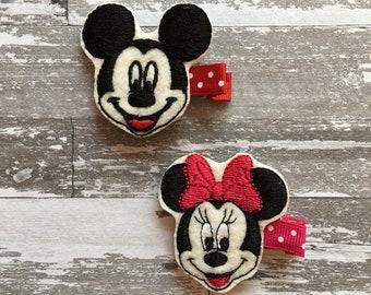 Minnie and Mickey Felt Clip - minnie Hair Bow - Mickey Mouse Birthday - Mickey Mouse Hair Bow - Mickey Mouse Party - Mickey Mouse Dress