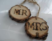 """Rustic Bouquet Charm, """"Mr  and Mrs  Wooden Charms  Wedding Sign, Wood, Wedding Charm, """"Mr and Mrs"""" and Wood Keepsake, Woodland Wedding,"""