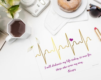 New Purple EKG I Will Dedicate My Life Today To Care For Those That Come My Way Nurse Printable Wall Art   Nurse Gift  Gift For Nurse   EKG