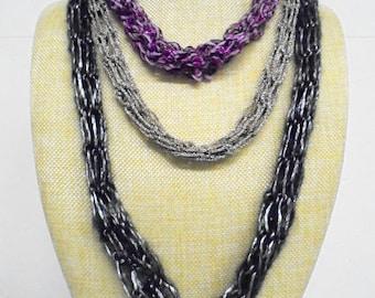 Necklace, long, crochet 74 cm