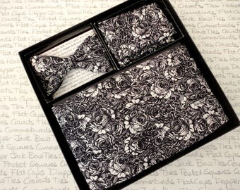 Cummerbund, bow tie and pocket square set, black and white rose print cummerbund set