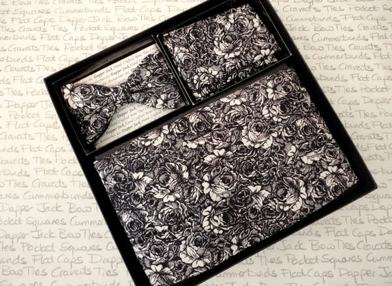 Cummerbund, bow tie and pocket square set, black and white rose print cummerbund set