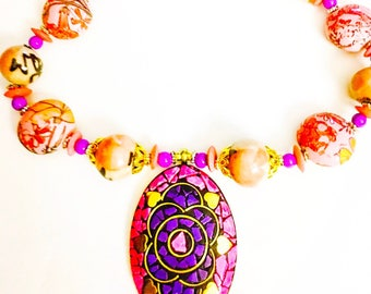 Handmade beaded necklace, floral necklace, mosaic necklace, ethnic necklace, statement necklace, chunky necklace, long necklace, pendant