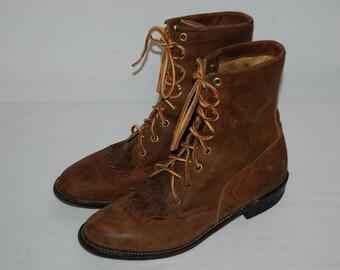 Men Size 7 Vintage Justin Brown Distressed Roper Ankle Boots