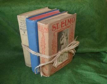 3 Hardback vintage/antique novels/books/St. Elmo's/The Thunderer/Way of the Eagle.