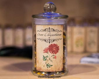 Snow Chrysanthemum Apothecary Jar with Dried Snow Chrysanthemum, food grade, great for Teas