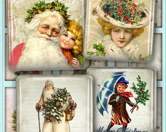 80 % off Graphics SaLe Victorian Christmas Images Digital Collage Sheets 1 inch and 1.5 inch Square Scrabble Tiles Printable Download Images