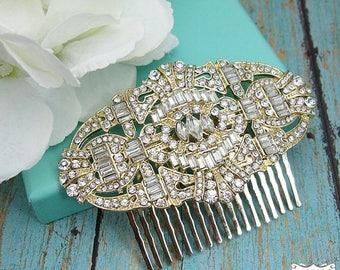 SALE 50% Off Gold Art Deco Bridal Comb, Rhinestone Comb, Bridal Comb Crystal, Wedding Crystal Hair Comb, Wedding Accessory, Bridal Headpiece