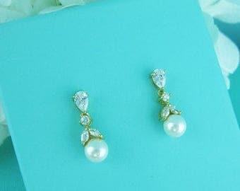SALE Ends Monday Gold cz earrings, pearl bridal earrings, cubic zirconia earrings, wedding jewelry, wedding earrings, bridal earrings, bride