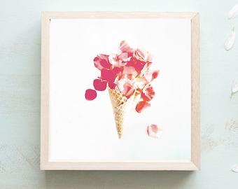 Icecream Cone Print - 50s Kitchen, Vintage Art Print, Fine Art Print, Pink Wall Art, Boho Prints, Flower Still Life, Flower Photography