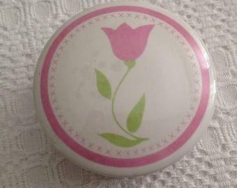 Tulip Trinket Box, FTDA Tulip Porcelain Trinket Box, Round Porcelain Box, Tulip Decor, Tulip Designs