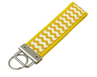 Personalized Key Chain / Key Fob Yellow Chevron with Optional Initials
